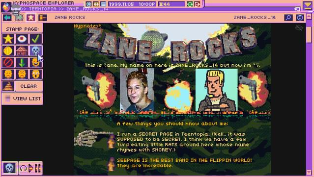 Screen Shot of Zane's Hypnospace page